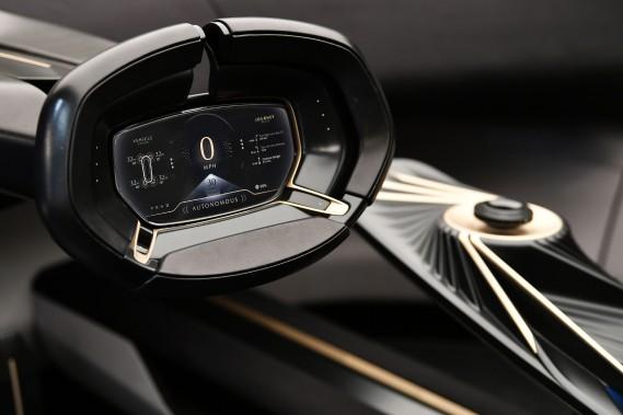 L'indicateur de vitesse de l'Aston Martin Lagonda All-Terrain est dans le volant. (AFP)