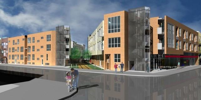 Les trois édifices du complexe seront traversés par... (Illustration fournie par les Habitations Laurendeau)