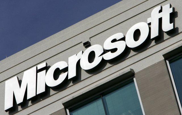 Le logo de Microsoft à leur bureau de...