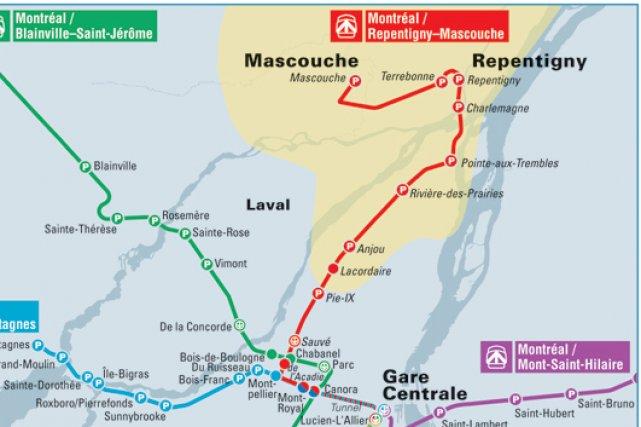 La mise en place d'un train de banlieue entre Montréal et Mascouche nécessitera... (Image AMT)