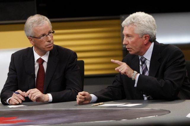 Stéphane Dion et Gilles Duceppe sont les deux grands gagnants du débat, tandis... (Photo AFP)