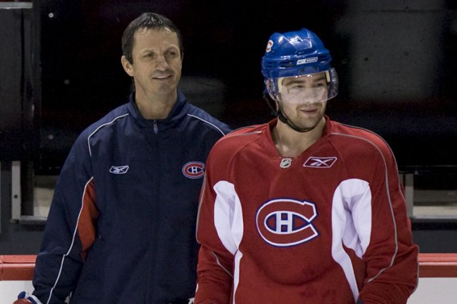 Guy Carbonneau et Chris Higgins durant un entraînement... (Photo François Roy, La Presse)