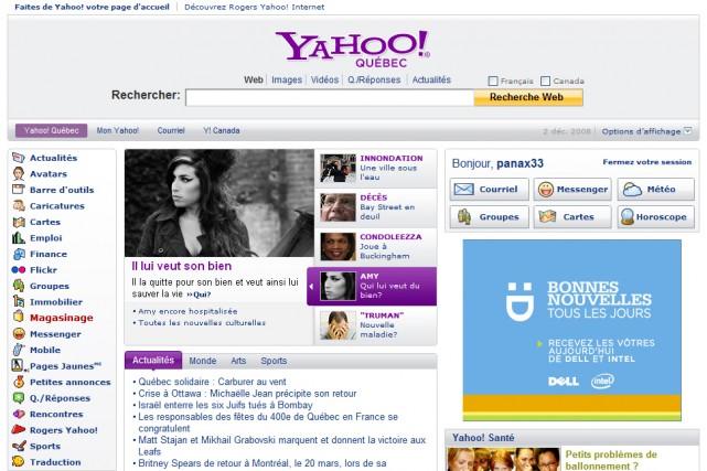 Le site Yahoo! Québec...