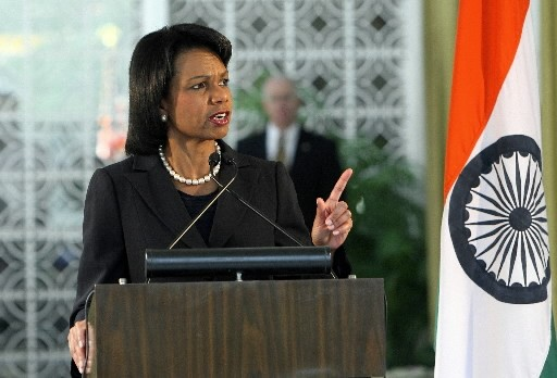 Condoleezza Rice en visite en Inde.... (Photo: AFP)