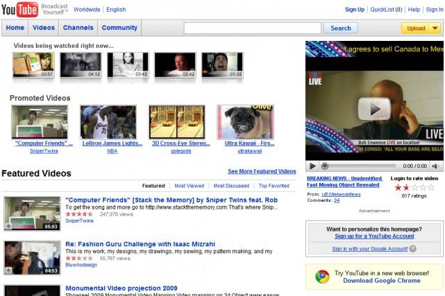 Le site YouTube...