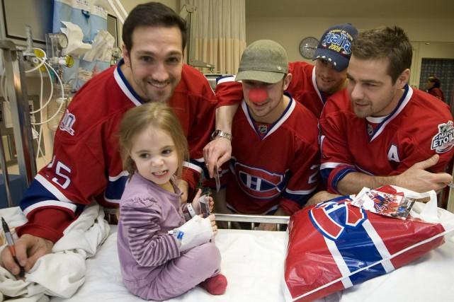 Mathieu Dandenault, Josh Gorges, Jaroslav Halak et Christopher... (Photo: André Pichette, La Presse)