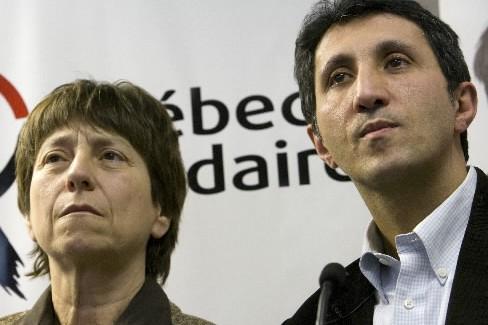 Les porte-parole de Québec Solidaire, Françoise David et...