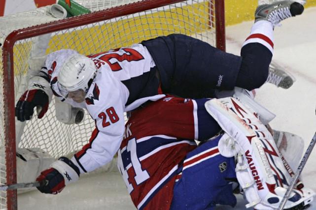 Alexander Semin est entré en collision avec Jaroslav... (Photo: David Boily, La Presse)