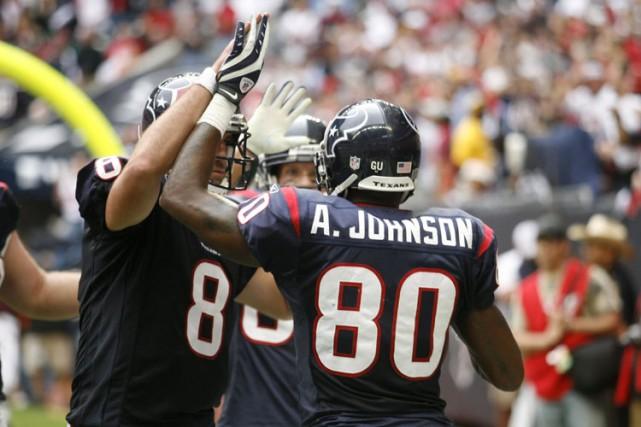 Le receveur de passes Andre Johnson a connu son meilleur match en carrière,... (Photo: Reuters)