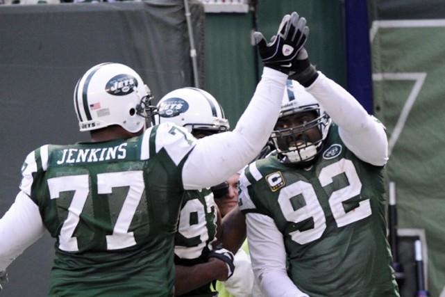 La défensive des Jets de New York a été malmenée tout au long de la rencontre... (Photo: Reuters)