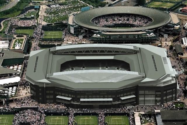 Le premier match disputé sous le nouveau toit rétractable du court central du... (Photo: AP)