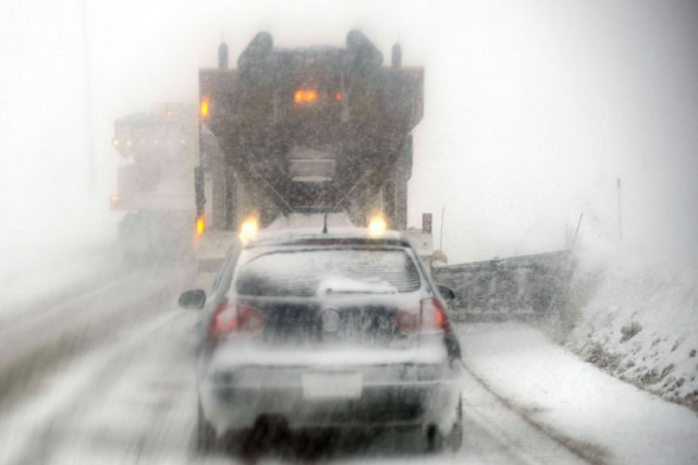 Hier, la neige et les vents violents rendaient... (Photo: Bernard Brault, La Presse)