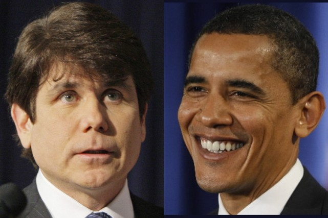 Le gouverneur de l'Illinois, Rod Blagojevich, et Barck... (Photo: AP)