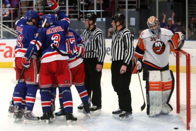 Markus Naslund a marqué l'un des quatre buts des Rangers de New York lors d'une... (Photo: AP)