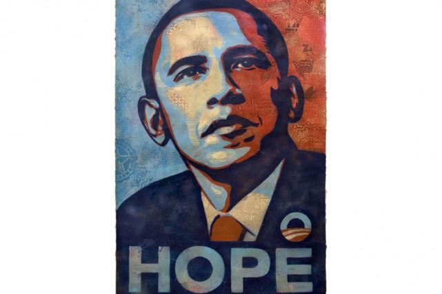 Le portrait de Barack Obama, conçu par le jeune artiste californien Shepard...