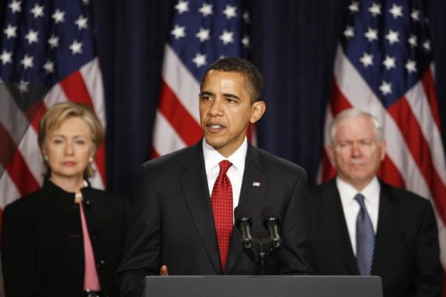 Barack Obama avec la Secrétaire d'État Hillary Clinton... (Photo: Reuters)