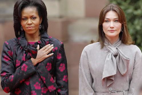 L'«audacieuse» Michelle Obama et la «classique» Carla Bruni-Sarkozy... (Photo: Reuters)