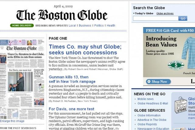 Le site web du Boston Globe...