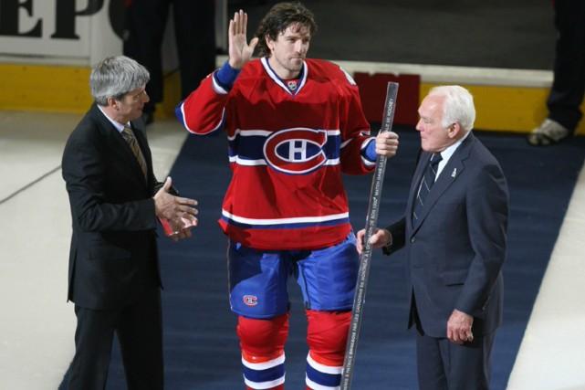 Patrice Brisebois a été honoré avant la rencontre... (Photo: André Pichette, La Presse)