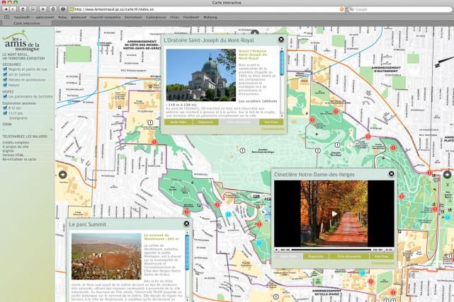 À partir de la carte, on peut télécharger... (Saisie d'écran du site lemontroyal.qc.ca)