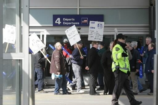 Le 18 mars, des employés d'Air Canada ont... (Photo: Patrick Sansfaçon, La Presse)