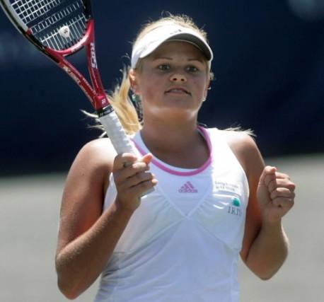 Aleksandra Wozniak se retrouve en demi-finale.... (Photo AP/Phil Coale)