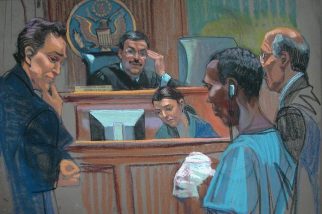 Ce croquis illustre Abdi Wali Muse en cour... (Photo: AFP)