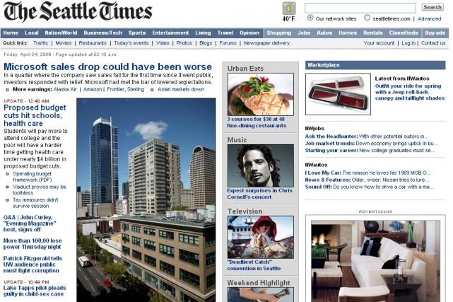 Le site web de The Seattle Times...