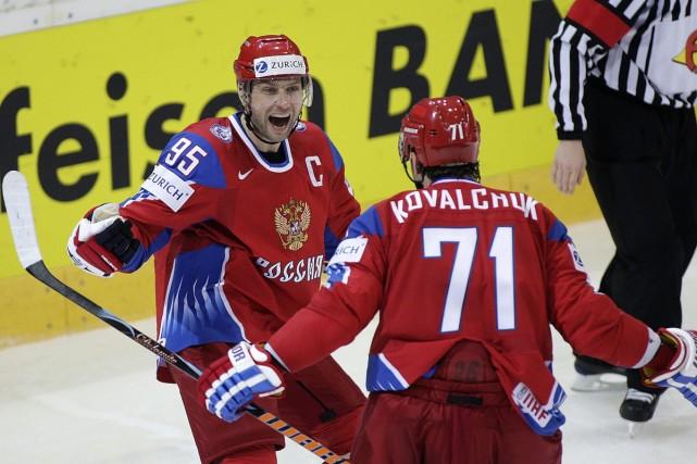 Ilya Kovalchuk et Alexei Morozov... (Photo: AP)