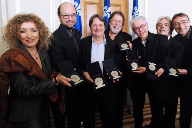 Marie-Michèle Desrosiers,Michel Rivard,  Réal Desrosiers, Pierre Bertrand,... (Photo: Erick Labbé, Le Soleil)