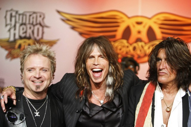Joey Krame, Steven Tyler et Joe Perry d'Aerosmith.... (Photo: Reuters)