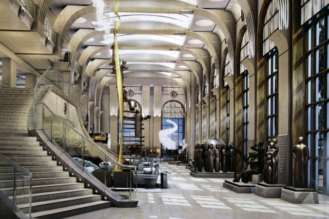 Cette illustration montre le lobby du nouveau local...