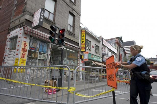 Quartier chinois  périmètre de sécurité autour d un immeuble ... 5cf8f64471a9
