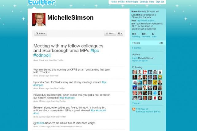 La page Twitter de Michelle Simson.... (Photo tirée du site Twitter)
