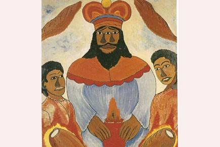 Le Grand Maître, une oeuvre du peintre haïtien... (Collection du Musée d'art haïtien)