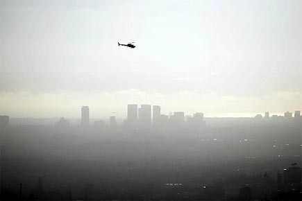 La ville de Los Angeles couverte de smog.... (Photo: archives AFP)
