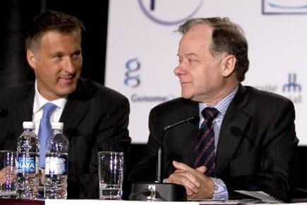 Maxime Bernier et Raymond Bachand lors d'une conférence... (Photo: Alain Roberge, archives La Presse)