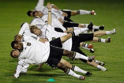 L'équipe allemande, Cacau, Thomas Mueller et Stefan Kiessling... (Photo: AP)
