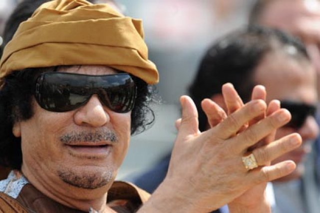 Le guide libyen Mouammar Kadhafi.... (Photo: Alberto Pizzoli, AFP)