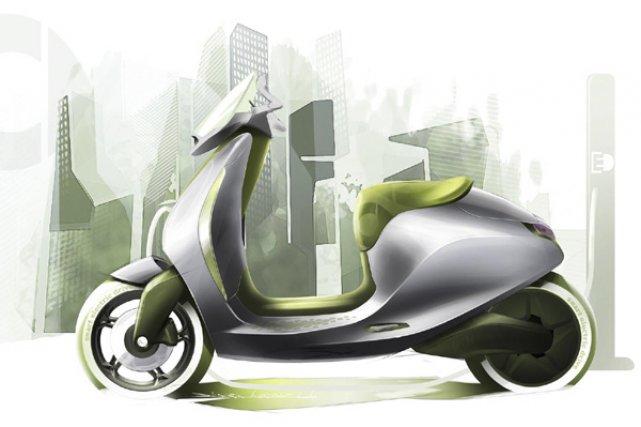 Un croquis du scooter électrique de Smart.... (Illustration fournie par Smart)