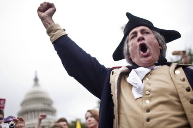 Un admirateur de George Washington lors d'un rassemblement... (Photo: The New York Times)