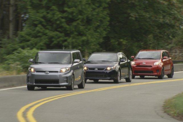 Les trois modèles Scion - xB, tC et... (Photo Paul Giamou pour Toyota)
