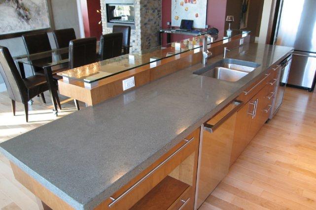 comptoirs de cuisine en b ton cir et tablette de bar en. Black Bedroom Furniture Sets. Home Design Ideas