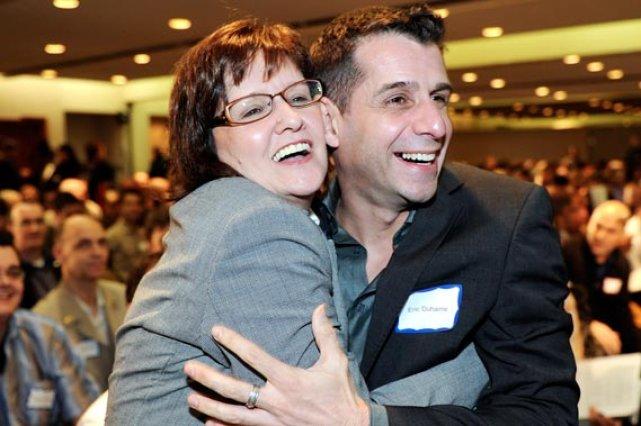 Deux des cofondateurs du Réseau Liberté-Québec, Joanne Marcotte... (Le Soleil, Erick Labbé)