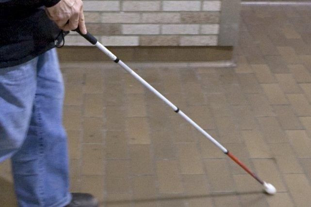 Les personnes aveugles se déplacent avec un chien-guide... (PHOTO: ALAIN ROBERGE, ARCHIVES LA PRESSE)