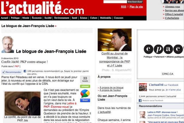 Blogue de Jean-François Lisée... (Photo tirée du site de L'actualité)