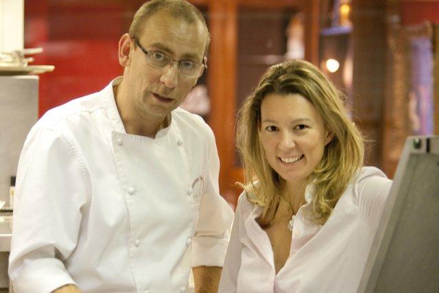 Les chefs français Yann Lainé et Caroline Rostang.... (Photo fournie par Alexandre et fils)