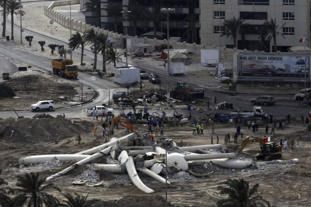 La place de la Perle, à Bahreïn, vendredi.... (Photo: AFP)