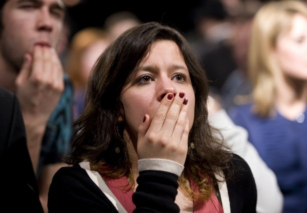Une partisane du Bloc québécois réagit aux résultats... (PHOTO: GRAHAM HUGHES, PC)