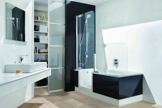 Une salle de bain qui accroche l 39 oeil marie france l ger design - Baignoire douche design ...